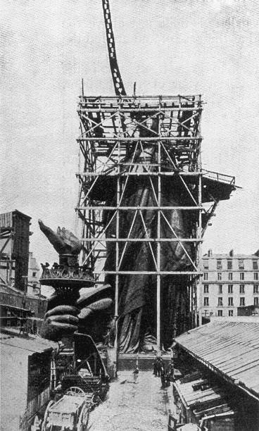 The framework for the right arm of the Statue Of Liberty...