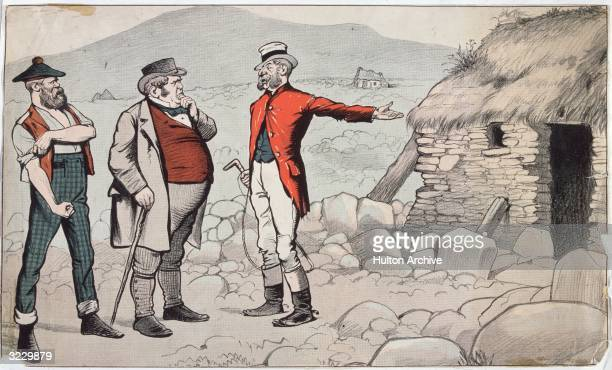 A satirical cartoon depicting the Crofter Act of 1886 which was passed to protect the highland croft farmers from the mass clearances and evictions...
