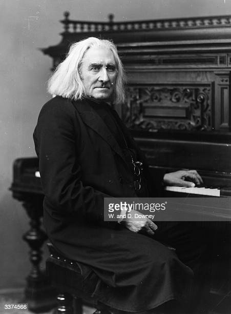 Hungarian composer Franz Liszt at the keyboard