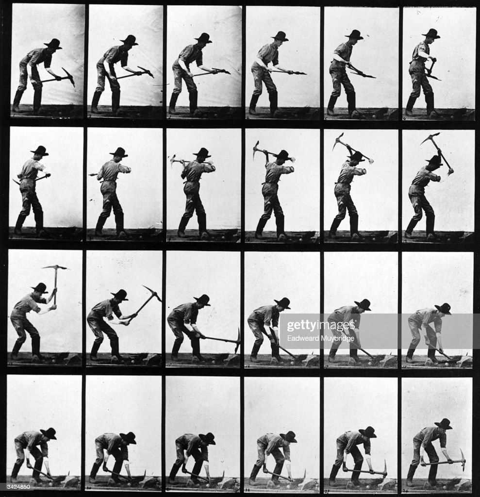 A series of photographers taken by the Anglo-American photographer Eadweard Muybridge (1830 - 1904) as a study of movement. He used twenty-four cameras to capture a single sequence of events, in this case a man using a pickaxe. Original Publication: From 'Animal Locomotion' - pub. 1887.