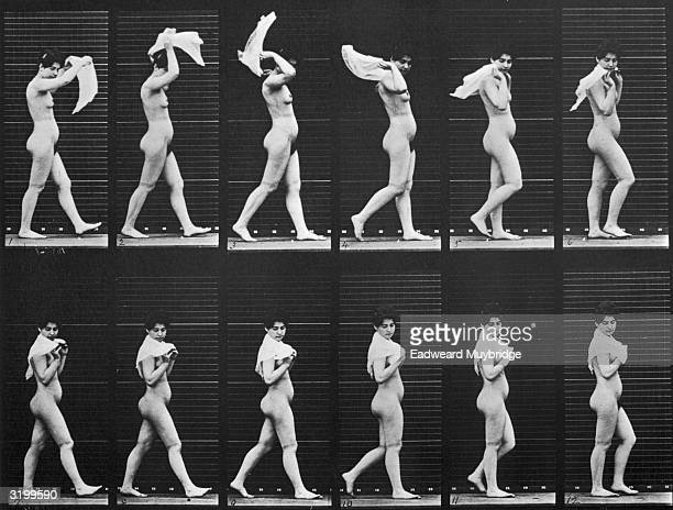 Sequence of stopaction images of a nude woman throwing a scarf over her shoulders while walking Titled 'Woman Walking Throwing Scarf over Shoulders'...