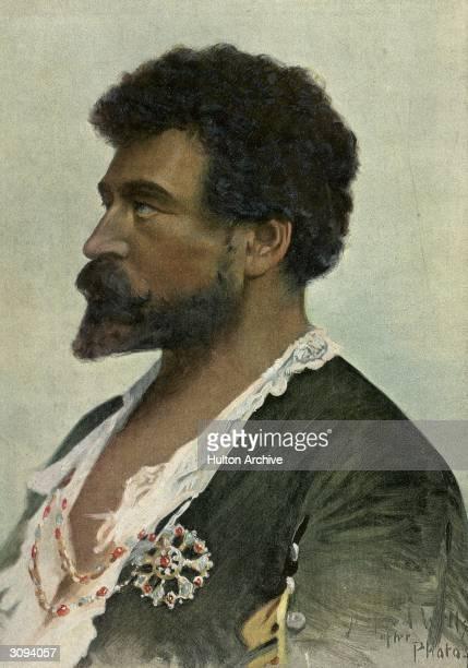 The Italian tenor Francesco Tamagno in the role of Othello in Verdi's opera 'Otello' for which he was chosen by the composer