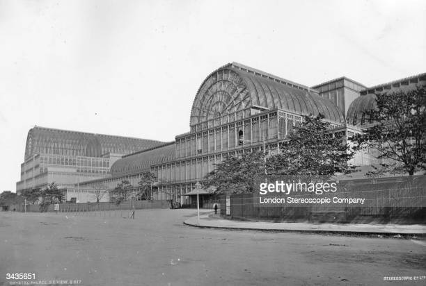 The south-east corner of the Crystal Palace after it was dismantled and moved from the Great Exhibition site to Sydenham in south London.