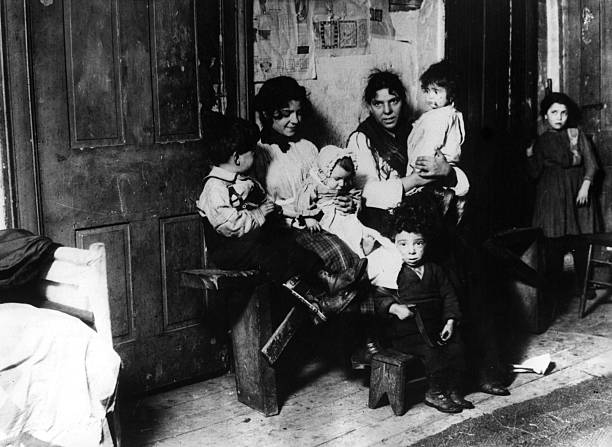 A family in a tenement slum in New York.