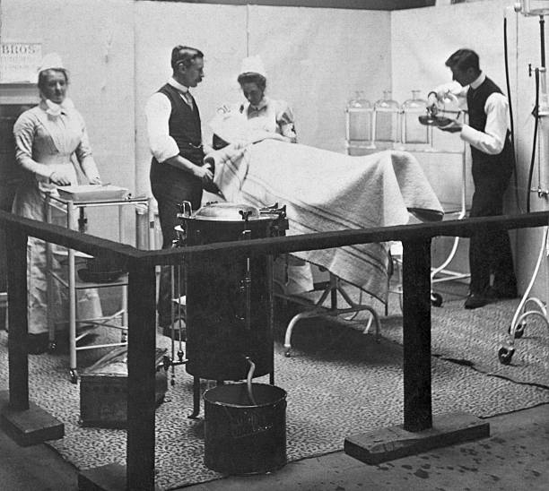 A model of a patient undergoing surgery in a late Victorian...