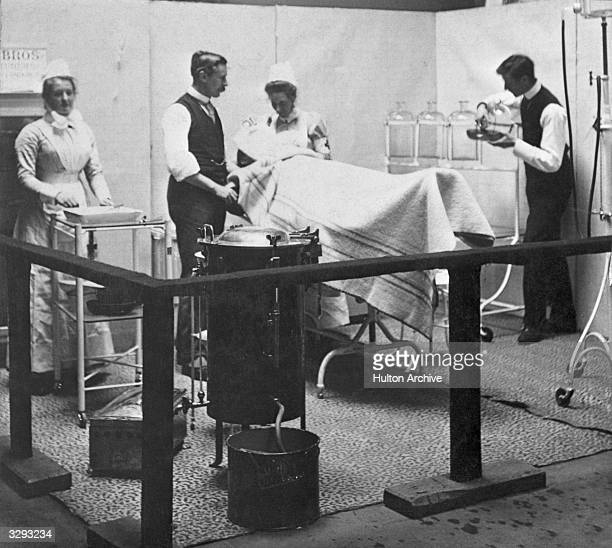 A model of a patient undergoing surgery in a late Victorian era operating theatre Spencer's Gold Medal Services