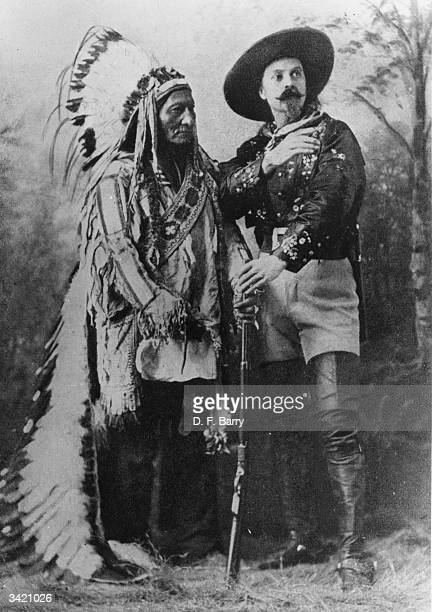 American showman William Frederick Cody known as Buffalo Bill with Sioux leader Sitting Bull Cody employed Sitting Bull as one of the main...