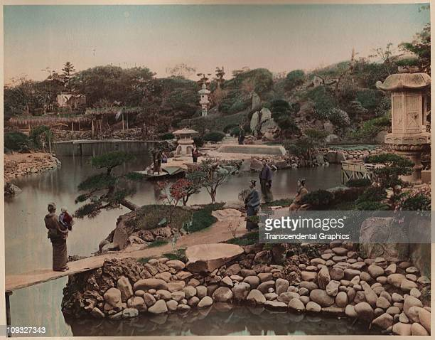 TOKYO circa 1890 An expansive Japanese garden is both elaborate and simple in this circa 1890 hand colored photograph from Tokyo