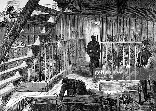 Caged prisoners below deck on a transport ship bound for Australia