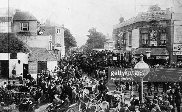 Crowds returning from the Epsom Derby.