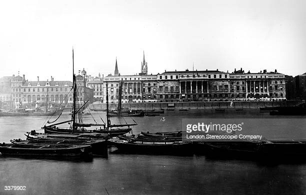 Customs House and Billingsgate Market across the River Thames in London
