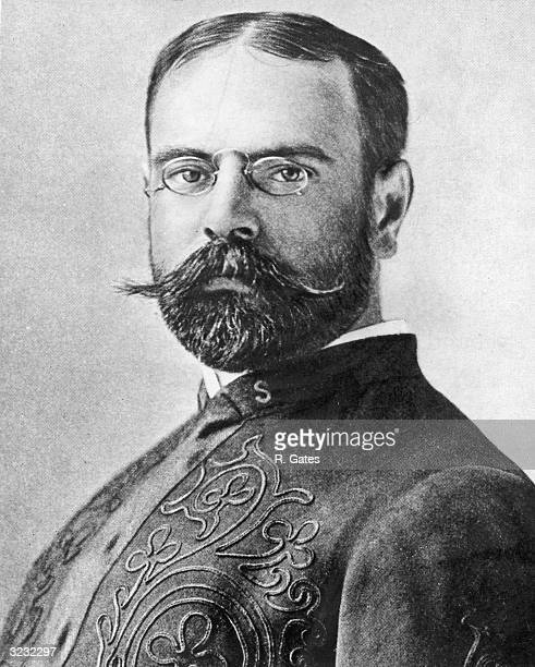 Headshot portrait of American composer and bandleader John Philip Sousa in his band uniform He wears pincenez and has a beard and a waxed moustache