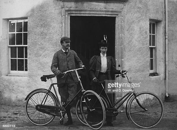 Princess Louise the Princess Royal daughter of Edward VII with Alexander William Fife her husband with their bicycles