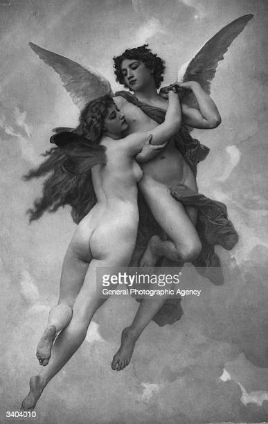 Psyche, a beautiful princess in Roman mythology, with her lover Cupid, the god of love. Psyche was made immortal by Jupiter, king of the gods.