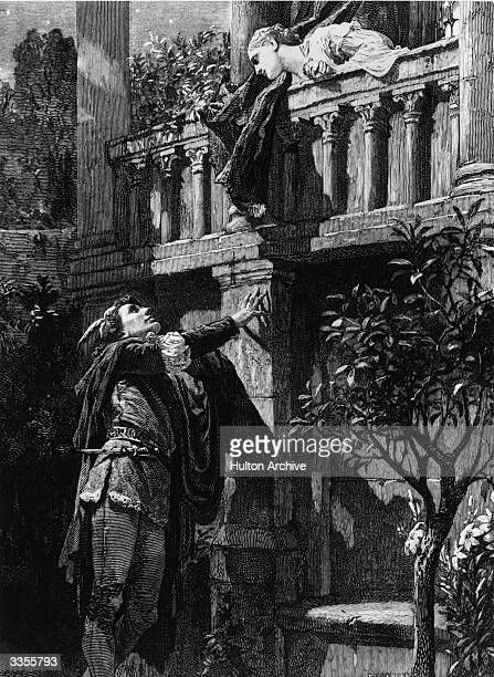 Romeo visiting Juliet on her balcony in a scene from Shakespeare's 'Romeo And Juliet' Original Artwork Drawing by Frank Dicksee for 'Cassell's...