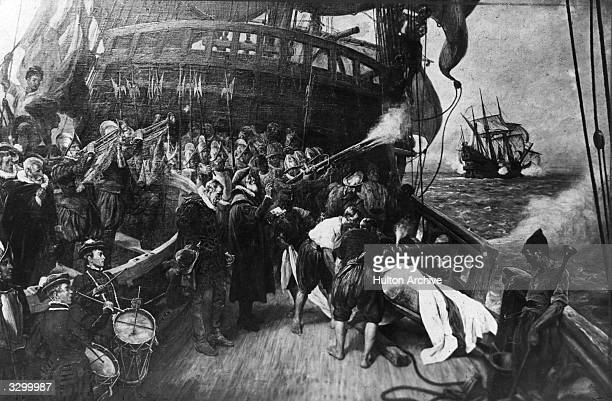 The burial of the English Seaman and adventurer Sir Francis Drake by Davison
