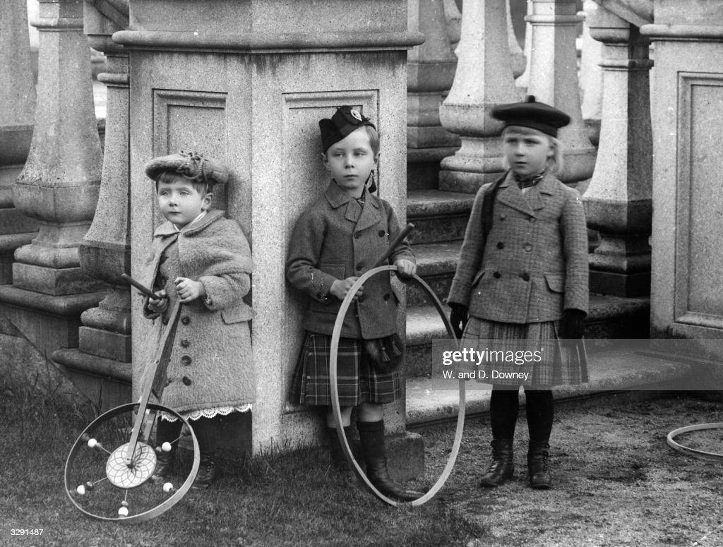 The children of Princess Beatrice and Prince Henry of Battenberg. From left, Princess Victoria Eugenie, (Ena), the future Queen of Spain (1887 - 1969), Prince Leopold and Prince Alexander.