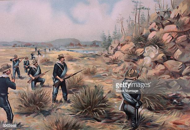 United States Army infantry exchange fire with Snake River Indians near Owyhee River Idaho Color illustration published in 1899