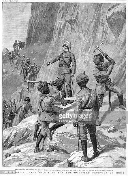 Forces from British India climbing up the mountain to take up position on the hillside above Gakuch near Gilgit on the Kashmiri border with India...