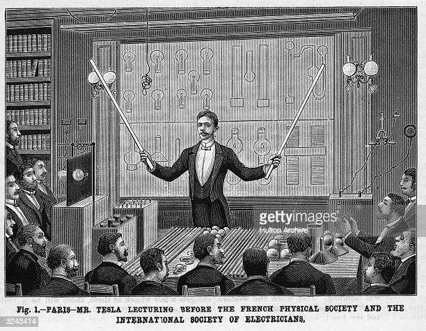Croatianborn inventor Nikola Tesla lectures before the French Physical Society and the International Society of Electricians Paris France Telsa...