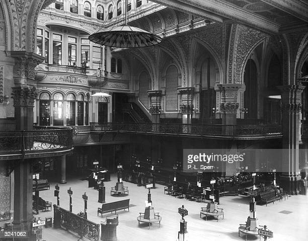 Interior view of the Old Stock Exchange in Wall Street New York City The building was constructed in 1865