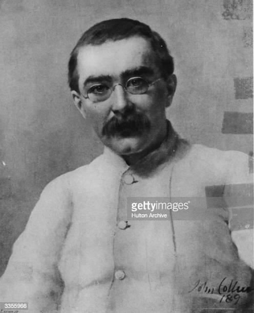 English writer Rudyard Kipling . Original Artwork: Painting by John Collier reproduced in 'The Bookman' in 1899.