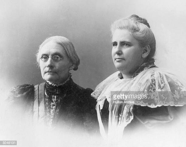 American social reformers Susan B Anthony and Anna Howard Shaw