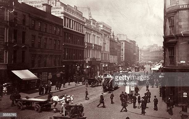 Passersby and horsedrawn traffic in Jamaica Street Glasgow Glasgow flourished during the industrial revolution because the Clyde was dredged and...