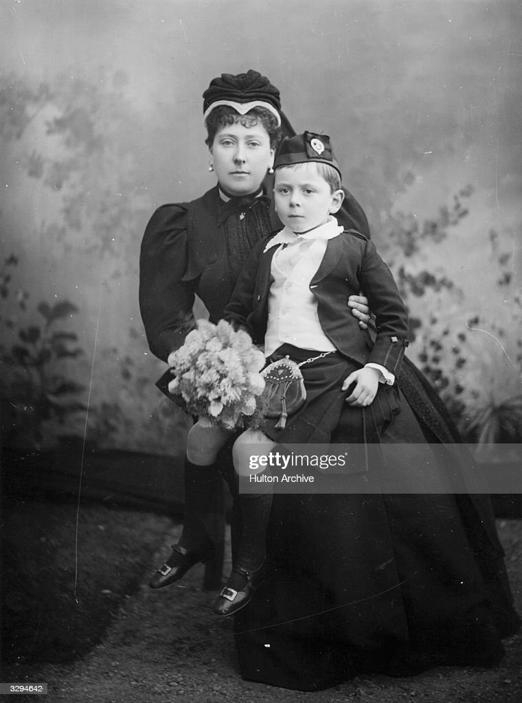Princess Beatrice of Battenberg, (1857 - 1944), with Prince Maurice of Battenberg, (1891 - 1914). She is the wife of Prince Henry of Battenberg.