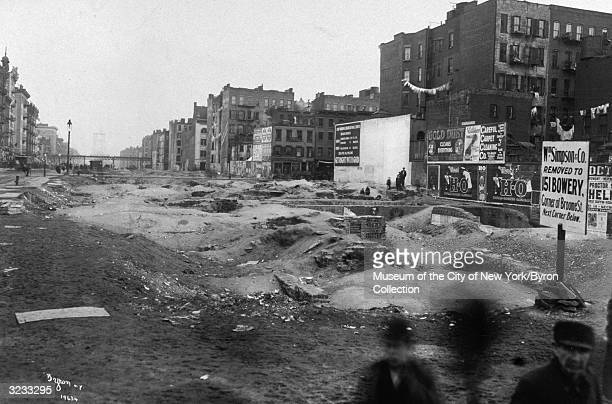 View of empty lots on Delancey Street looking east between Bowery and Chrystie Streets Lower East Side New York City