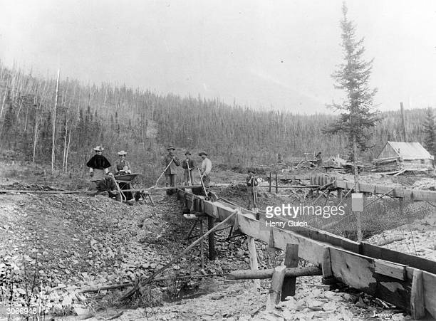 Wives and family visit gold miners at Disc' Hunter Creek Klondike Canada Powlesland_Collection
