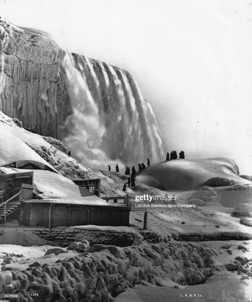 Niagara Falls with part of the falls frozen.