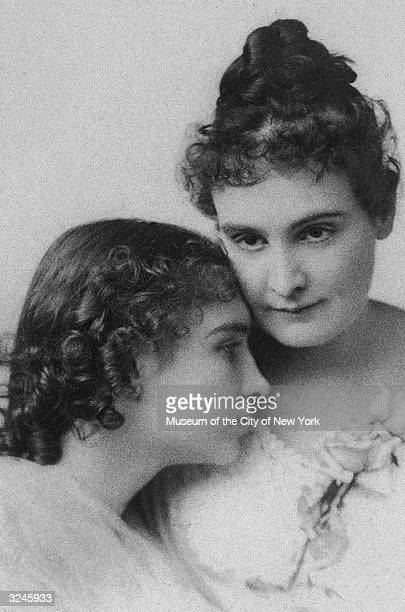 Headshot portrait of deaf blind and mute writer Helen Keller with her teacher and companion Anne M Sullivan Keller wrote 'The Miracle Worker'