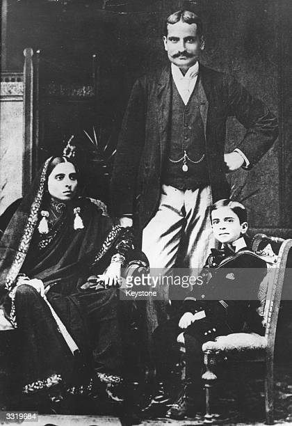 Indian statesman Jawaharlal Nehru known as Pandit Nehru as a child with his father Pandit Motilal Nehru and mother Swarup Rani Nehru