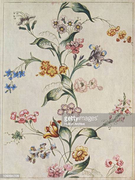 A brocaded tabby in watercolour a design for Spitalfields silk from 1742 From the Victoria and Albert Museum in London