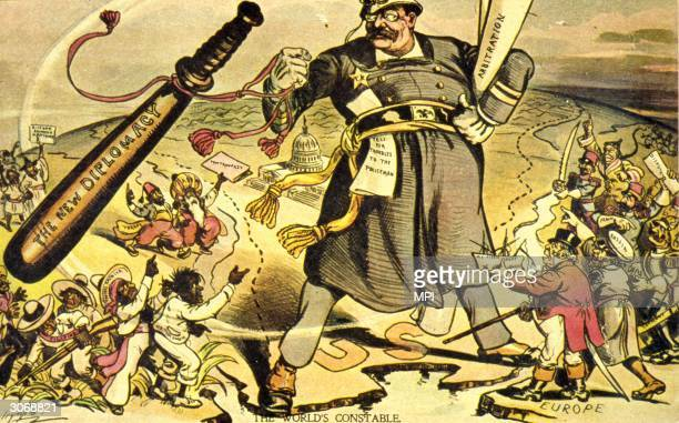 A cartoon satirizing President Theodore Roosevelt's foreign policy motto of 'Speak softly and carry a big stick'