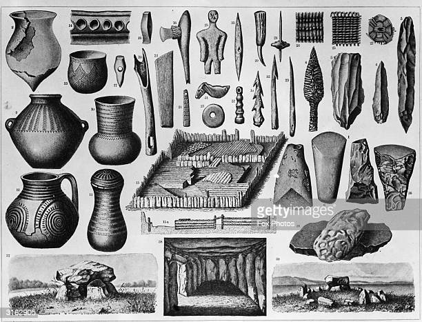 A collection of Stone Age artefacts from around the world including knives and spearheads decorated clay pots and sewing needles At the bottom from...