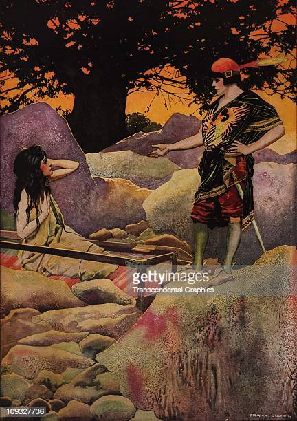 NEW YORK circa 1900 A dramatic illustration by Frank Godwin of Snow White from the fairy tale of the same name shows off the artist's superb color...