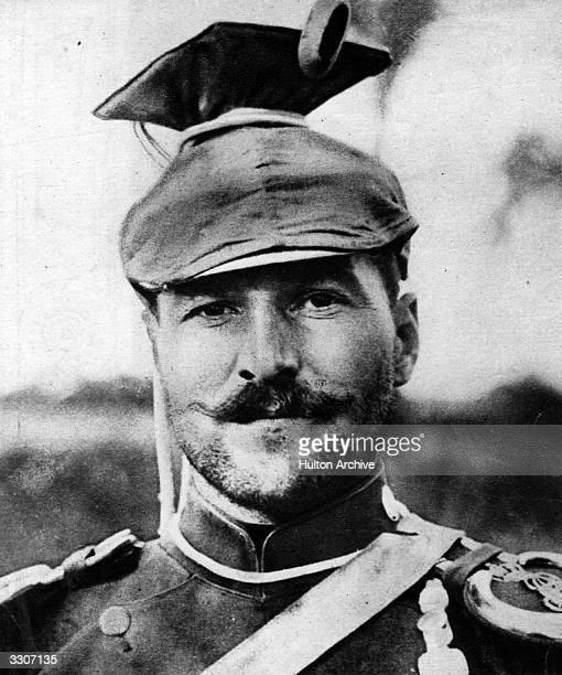 German Uhlan military man wearing the distinctive 'tschapka' headgear.