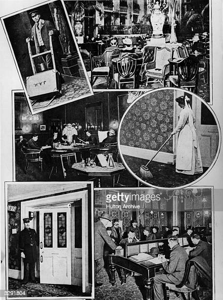 A montage showing a hotel porter the Palm Court at the Carlton Hotel the Smoking Room at the Grand Hotel a chambermaid an elevator boyand the...