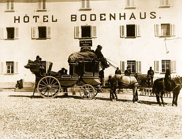 A stagecoach outside the Hotel Bodenhaus.