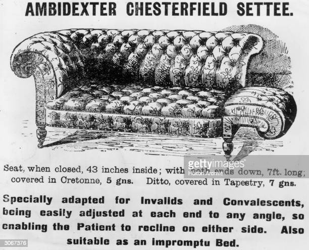An 'ambidexter' Chesterfield sofa with adjustable arms allowing people to recline at any angle