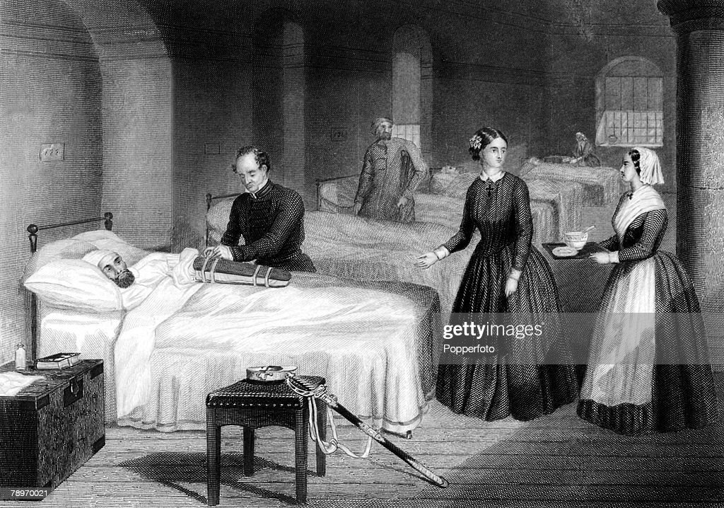 Circa 1900. An etching of British Nurse Florence Nightingale attending to patients in the hospital at Scutari. : News Photo