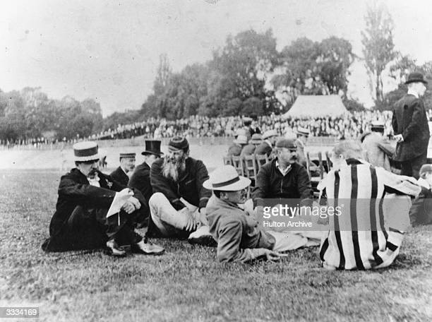 Australian cricketer William L Murdoch and England and Gloucestershire cricketer Dr W G Grace at Crystal Palace Cricket ground