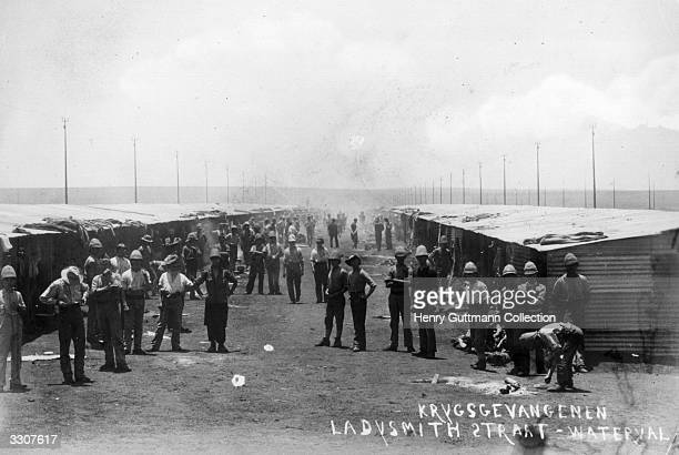 British prisoners of war in a camp at Waterval during the second Boer War