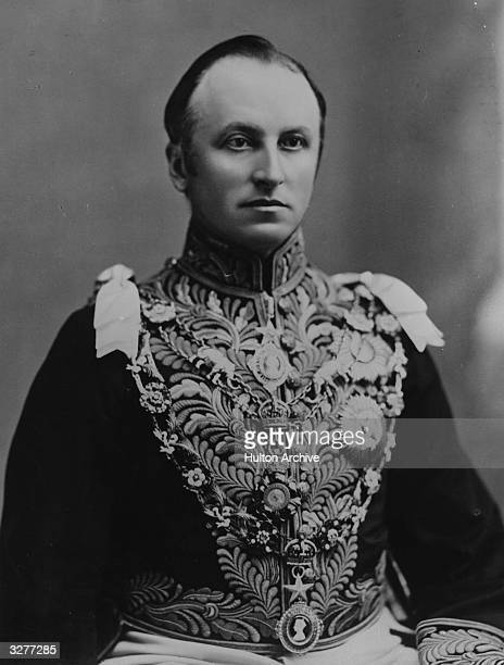 George Nathaniel Curzon 1st Marquis statesman Governor General of India Lord Privy Seal 1915 in full ceremonial dress.