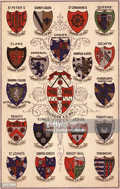 Heraldic shields of the Colleges of Cambridge UniversityThe first college was founded in the 13th century