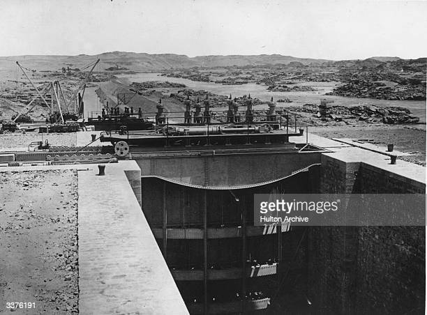 Lock gates at Aswan Dam across the Nile River near the city of Aswan Egypt