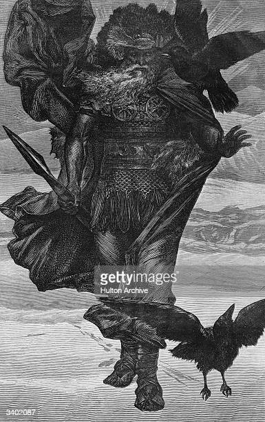 Odin the Norse god of war and king of the gods accompanied by his two ravens Huginn and Muninn Original Artist By V C Princep
