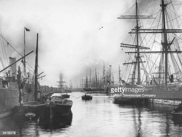 Ships moored at the West India Docks East London